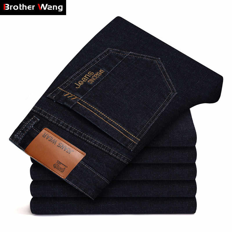 Men's Brand Stretch Jeans 2020 New Business Casual Slim Fit Denim Pants Black Blue Trousers Jeans Male Plus Size 38 40 42