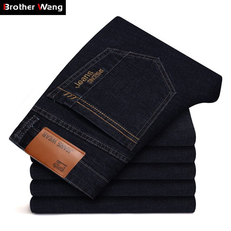 Men's Brand Stretch Jeans 2019 New Business Casual Slim Fit Denim Pants Black Blue Trousers Jeans Male Plus Size 38 40 42