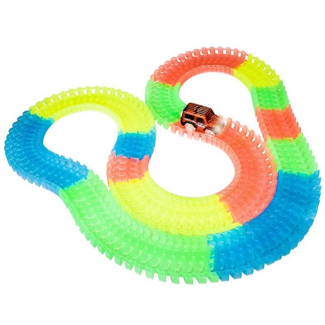10pcslot glow racing diy cars track toy electronic rail glow race racing car toy puzzle roller coaster track for kids