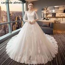 Vestido de Noiva V-Neck Ball Gown Gaun Pengantin 2018 dengan Lace Appliques & 3/4 Sleeves Luxury Wedding Gowns