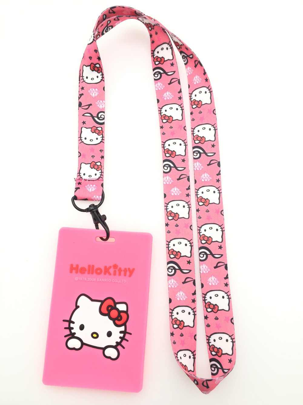 e4693cd56 Retail 1 pcs pink new anime hello kitty Card Holder Identity Badge with Lanyard  Neck Strap