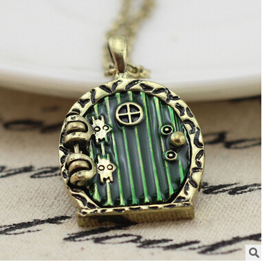 Nice 10PCS 31X24MM Hobbit Door Locket Necklace Fairy Door Charm,Photo Locket,DIY  Setting Locket