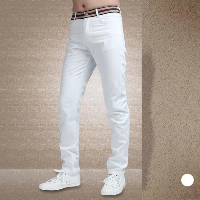 Calças dos homens 2016 Nova Chegada Slim Fit Calças Dos Homens Casuais Moda Outono Sólida Homens Meados de Cintura Calças Compridas Branco/preto Venda