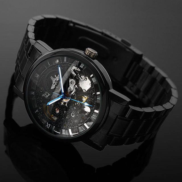 Men's Black Skeleton Steel Automatic Mechanical Watch