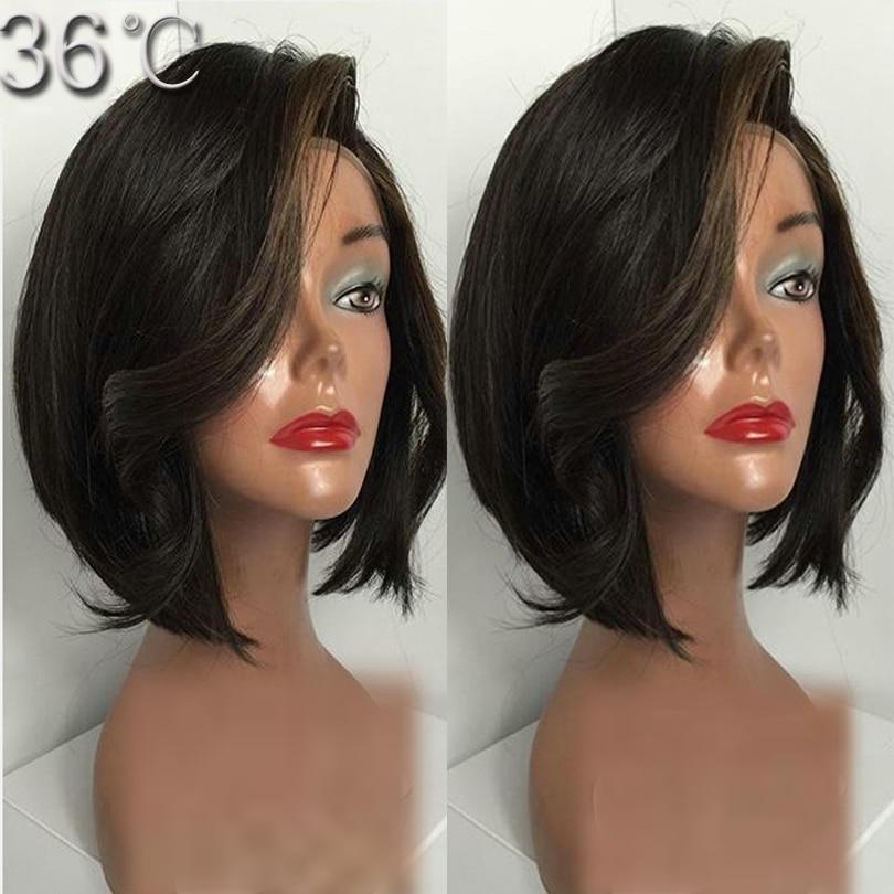 Human Hair Bob Wig Short Bob Full Lace Wig Wavy Brazilian