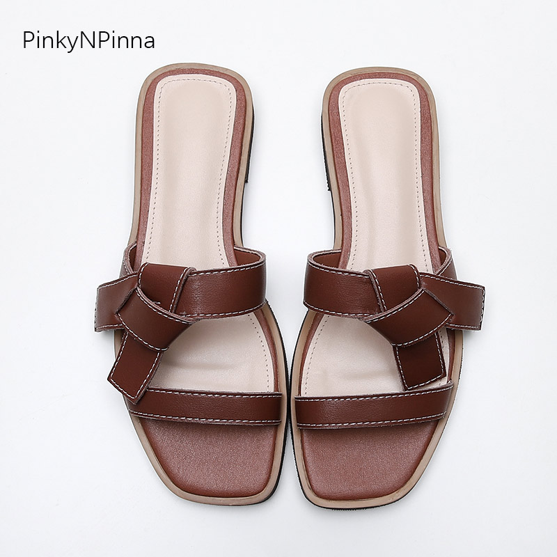 2019 women beach holiday summer slippers genuine leather double toe strap western style low heels casual outdoor fashion slides in Flip Flops from Shoes