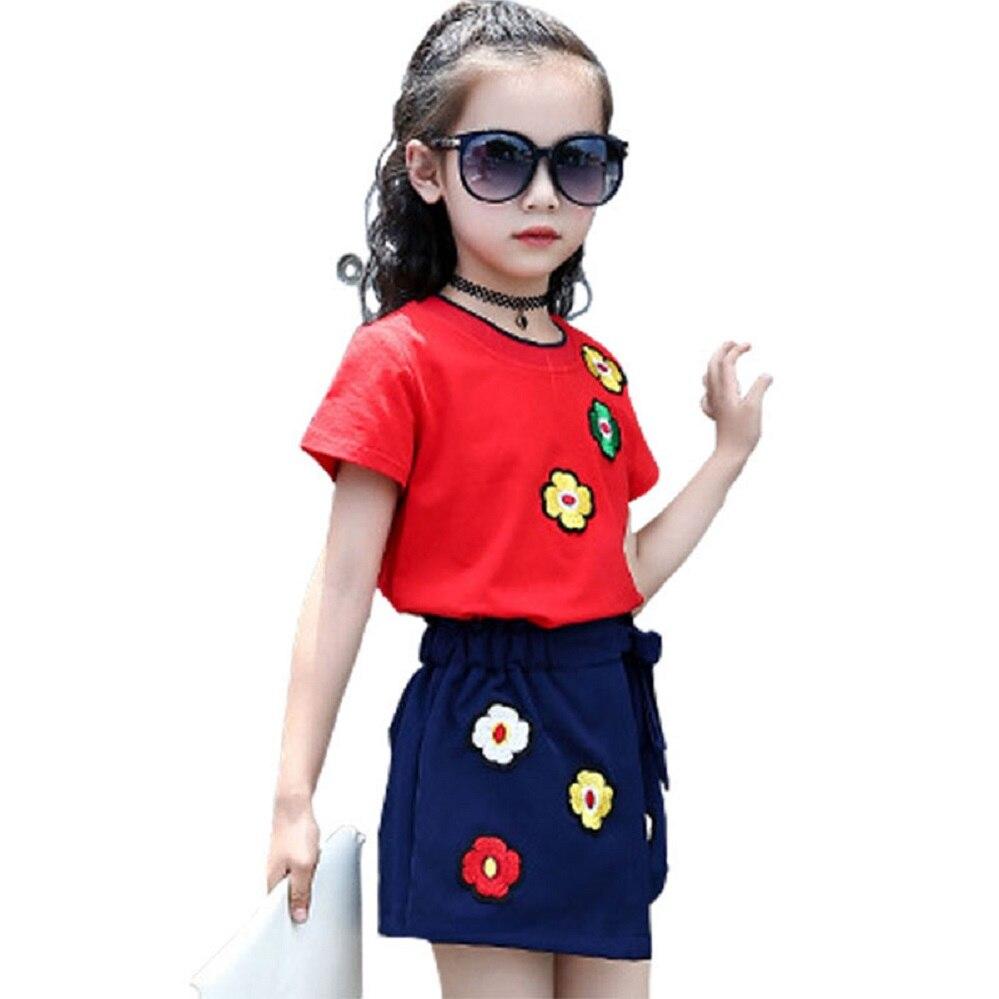96e4eab430 Ropa para niñas 3 5 7 9 11 años Ropa de niños florales Conjunto de ...
