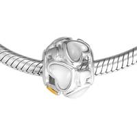 Fits Pandora Charms Bracelet 100% 925 Sterling Silver Beads Luminous Hearts Charm Jewelry FL387K