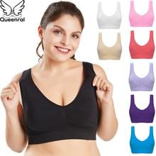 Queenral Plus Size Bras For Women Seamless Bra With Pads Big Size 5XL 6XL Bralette Push Up Brassiere Bra Vest Wireless BH