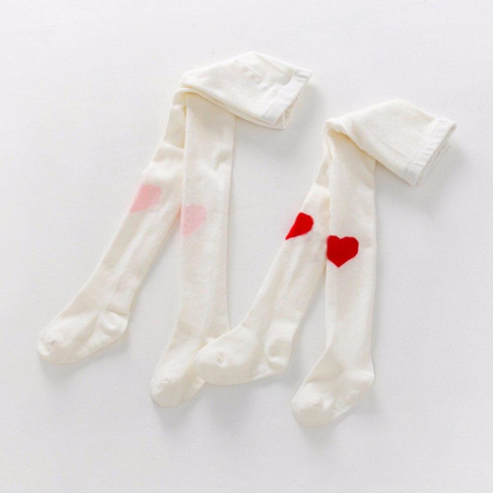 2 Colors Spring Style Baby Girl Kids Socks Soft 100% Cotton Printing Heart Toddler Socks Children's High Socks