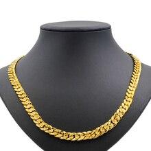 Купить с кэшбэком Dubai Personality Fashion 24 Gold Jewellery Unisex Necklace Anniversary Commemorate Fine Handmade Jewelry Gift Accessory