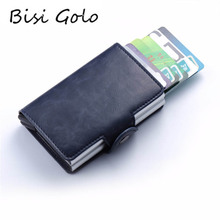 BISI GORO 2019 RFID Card Holder PU Leather Vintage Credit Double Aluminum Boxes High Quality ID Holders Case