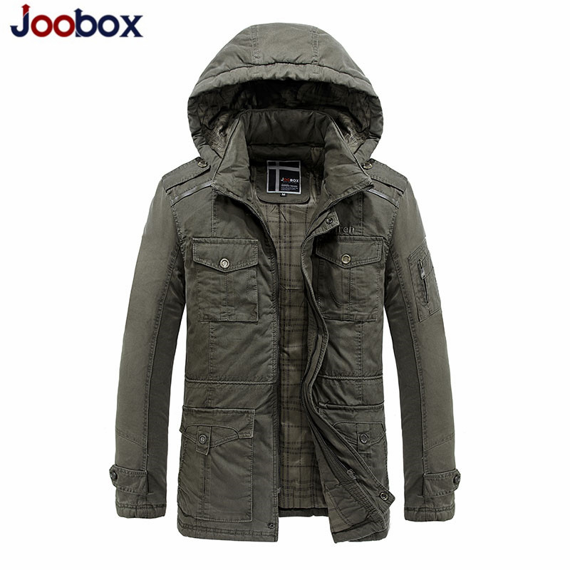 Jeans Jacket Coats Parka Hooded Winter Mens Casual Warm Fit Snow JOOBOX Thick Young Cotton