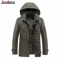 JOOBOX 2018 100% Cotton Mens Winter Jackets And Coats Hooded Thick Warm Casual Young Men Parka Fit Snow Cold jeans jacket men