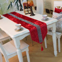 Colorful Fashion Luxury Velvet Fabric Soft Rhinestone Dining Table Runner  Tea Flag Tablecloth Decorate For Home