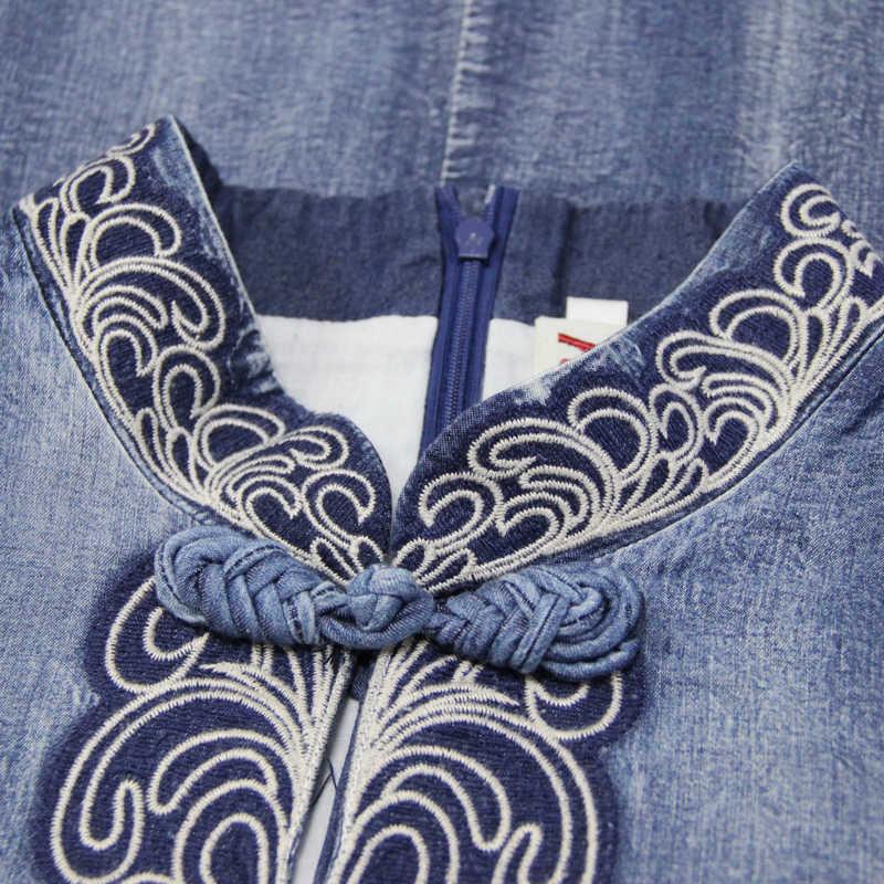 קיץ שמלת 2019 Yuzi. עשוי Boho חדש ג 'ינס נשים שמלות מנדרינית צווארון חצי שרוול פרח רקמת Cheongsam A82136 Vestidos
