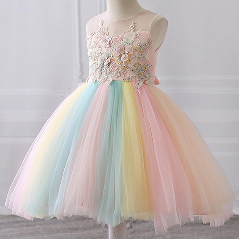 Girls Dress Clothing Tutu Wedding-Gown Evening-Party-Dress Floral Lace Princess 4-To-10-Years