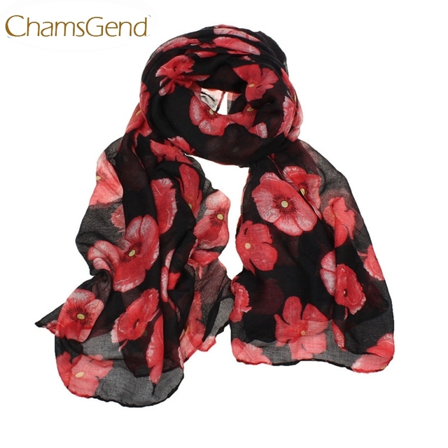Chamsgend Newly Design Fashion Red Poppy Scarf Print Long Scarves Flower Beach Wrap Ladies Stole Shawl July31 Drop Shipping