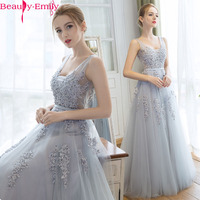 Vestido De Festa Beauty Emily Elegant Light Grey Lace V Neck Long Evening Dress The Bride