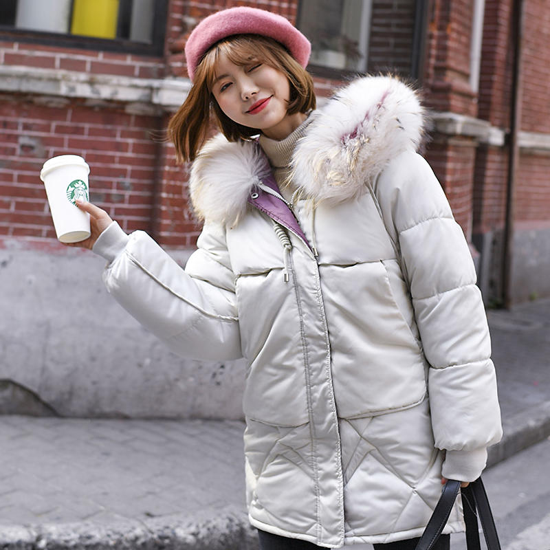 Winter Jacket Women   Parkas   Hooded Plus Size Down Cotton Coat Female Oversized Fur Collar Casual Warm Thicken Jacket Women Q1616