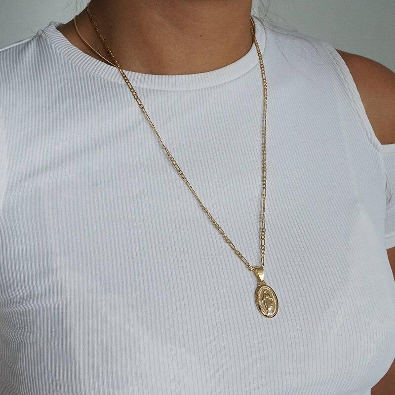 Gold Medallion Virgin Mary Necklace, Unisex Necklace, Coin Necklace, Long Layering Necklace ...