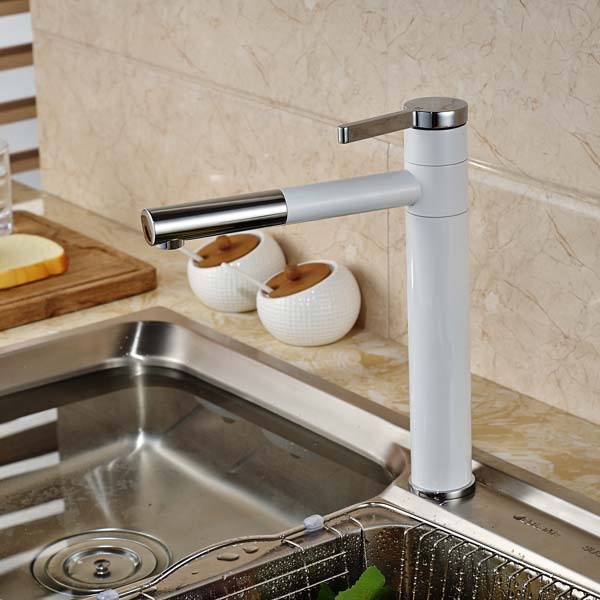 ФОТО NEW White Painting Pull Out Kitchen Faucet Single Handle Hole Vessel Sink Mixer Tap Deck Mounted