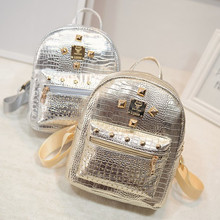 Classic gold and silver lady backpack 2016 Korean  women's mini backpacks crocodile grain PU leather rivets women shoulder bag