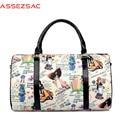 Assez saco! impresión de la lona bolsas de viaje bolsos de las mujeres 2016 señoras de la historieta de las mujeres de equipaje de alta calidad de gran capacidad femenina LS7189