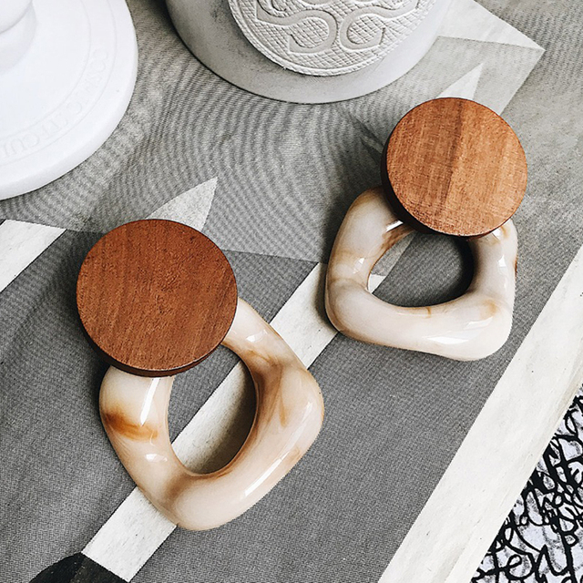 Large Fashion Resin Drop Earrings For Women, New Acetic Acid Large Trendy Wood Geometric Jewelry