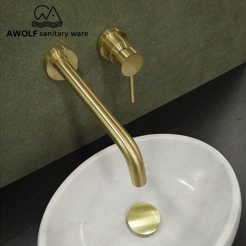 Матовый золотой кран для раковины, твердая латунь, ванная комната, настенный носик, ванна, смеситель для душа, носик для раковины, ML8032