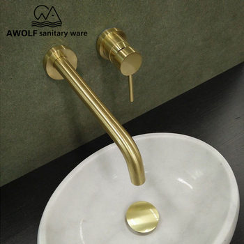 Brushed Gold Basin Faucet Solid Brass Bathroom Wall Mounted Spout Bathtub Shower Mixer Tap Spout For Lavatary Sink ML8032 led color changing waterfall spout bathroom faucet brushed nickel mixer tap