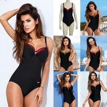 Купить с кэшбэком ESSV One Piece Push Up Swimsuit Plus Size Swimwear 2019 Women Sexy Padded Summer Bathing Suit Beachwear Patchwork Bodysuit