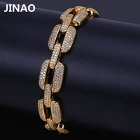JINAO Hip Hop Bracelets Gold Silver AAA Cubic Zirconia Micro Paved All Iced Out Bling Lab CZ Stones Bracelet 8