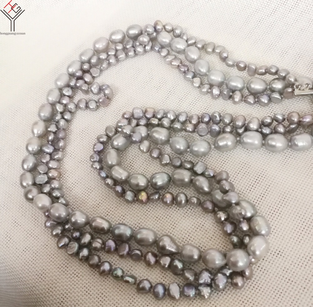34'' 86cm Women fashion Jewelry 3 Rows long Necklace 6 10mm Gray colors natural pearl baroque freshwater pearl