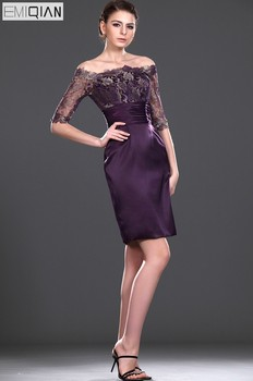 Formal Wedding Party Dress Gorgeous Sheath Boat Neck Half Sleeves knee Length Lace Mother of the Bride Dress