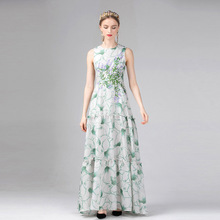 цена на 2019 Spring Summer Women's Dress New Lady Embroidery Flower Print Round Neck Sleeveless High Waist Slim Long Cake Ladies Dresses