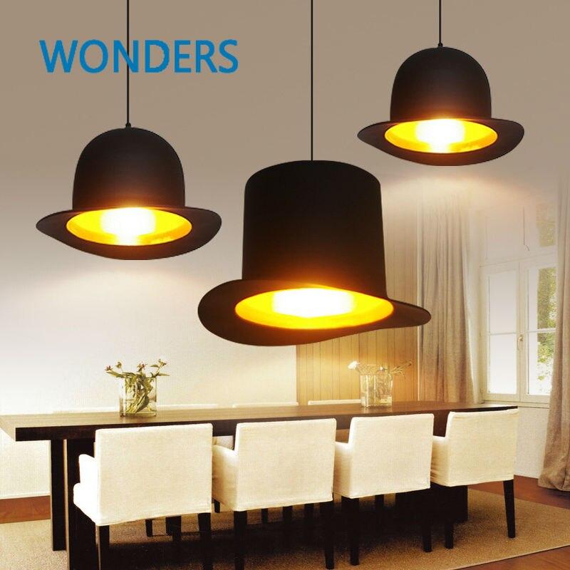 Rétro personnalisé topper style européen suspension lampe 110 v/220 v Restaurant Bar salon roomTop chapeau pendentif lumières
