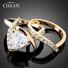 Chran Classic 2 Pave Crystal Couple Rings Jewelry Elegant Party Gifts AAA Cubic Zirconia Engagement Wedding for Wome