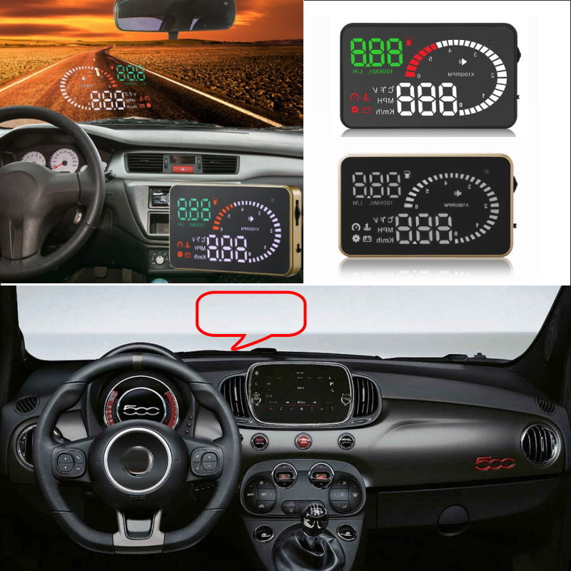 Liislee Car HUD Head Up Display For Fiat 500 Punto Stilo Bravo Linea Freemont Ducato - Safe Screen Projector / OBD II Connector waterpoof industry linear actuator 12v 24v 300mm stroke 1600n load 100mm s speed actuator linear
