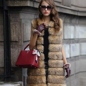 2018 new long style Mosaic imitation fur fox fur vest women in the long fur coat NV053 roupas da moda masculina 2019