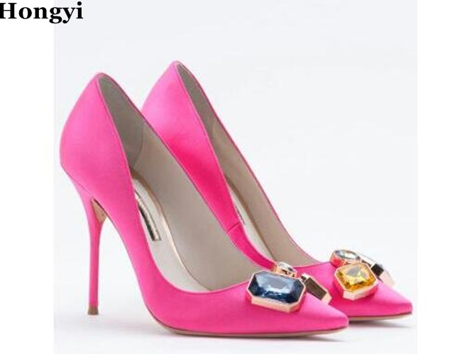 Hongyi Hongyi hot selling rose pink pointed toe high heel shoes woman thin heels pumps candy color crystal stones stiletto heels цена 2017