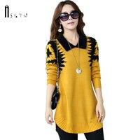 Turn Down Collar Sweater Dress Women Plus Size Thin Pullover Medium Long Print Basic Slim Ropa