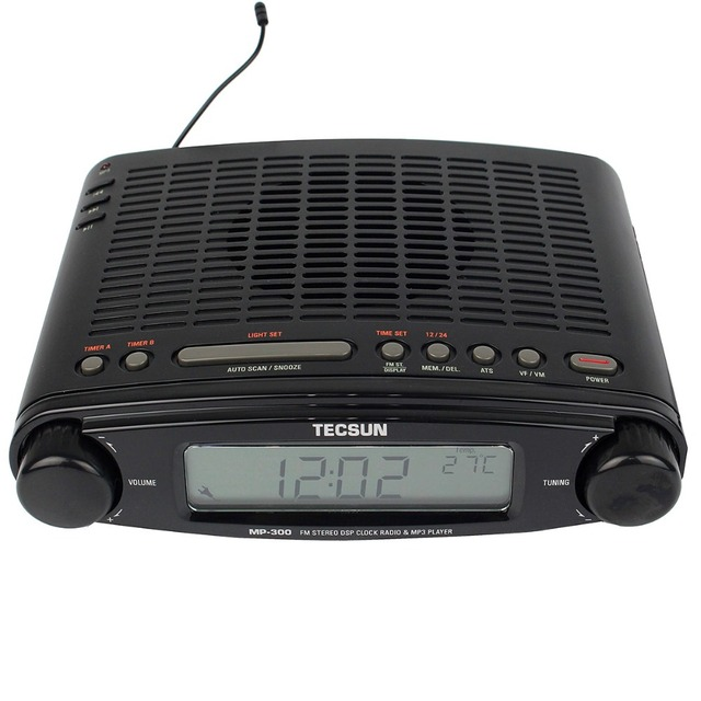 Горячая Продажа TECSUN MP-300 Радио FM Стерео DSP Радиочасы USB Mp3-плеер Рабочего АТС Сигнализации Портативный Радиоприемник Y4137A
