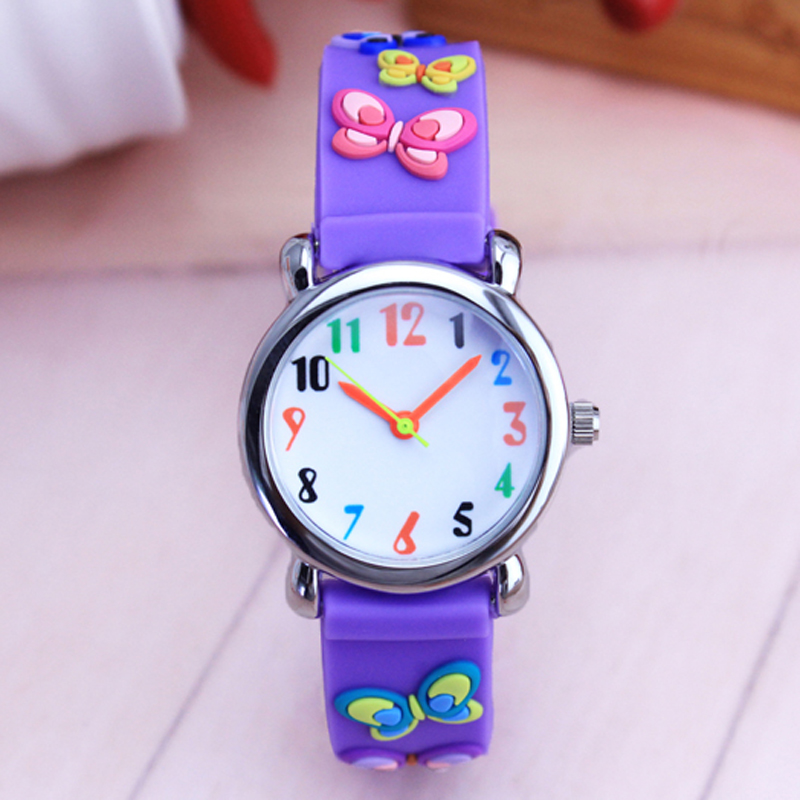 WILLIS Girls Quartz Silicone Strap Watches 3D Cartoon Butterfly Fashion Pointer Waterproof Clock Electronic Watches