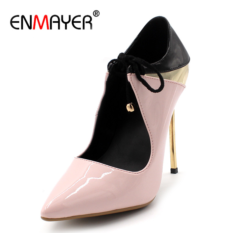ENMAYER Lace-up Sexy Pumps High Heels Pointed Toe Plus Size 34-43 Black Pink Shoes Woman Party Wedding Shoes Pumps sexy black leather pointed toe high heels pumps shoes newest woman s lace up thin heels shoes party shoes