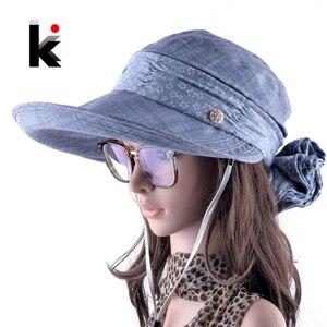 Image 1 - Güneş şapkaları Ile Yüz Boyun Koruma Kadın Sombreros Mujer Verano Geniş Ağızlı Yaz vizör kep Açık Havada Anti UV Chapéu Feminino
