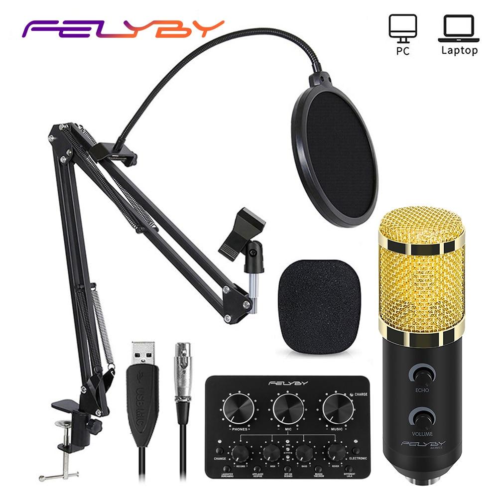 Felyby bm 900 usb microfone condensador profissional karaoke studio microfone para computador/portátil/pc gravação e transmissão