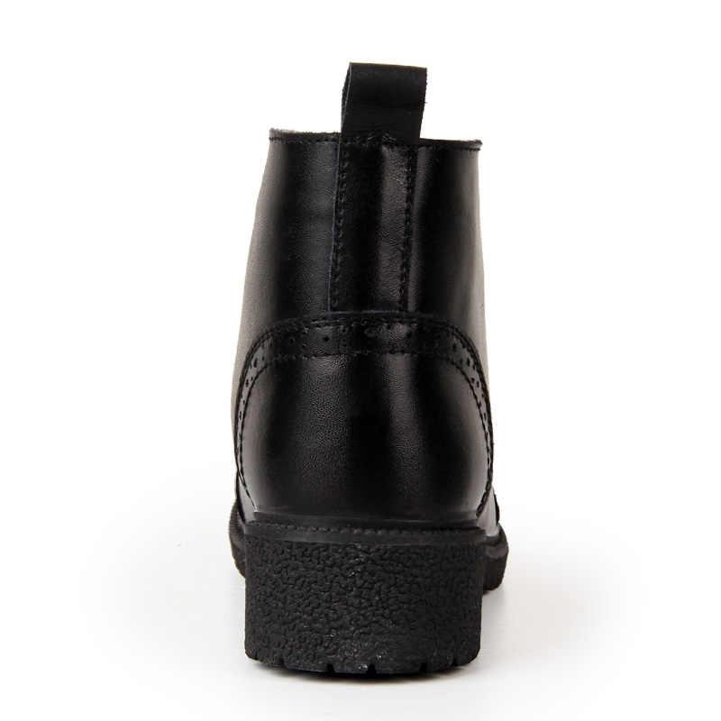 EOFK Kadın Brogue Botları Bayan Deri yarım çizmeler Kısa Peluş Klasik rahat ayakkabılar Yüksek Üst Siyah Sıcak Kış Ayakkabı Kadın