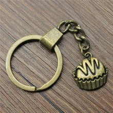 20x19mm Cupcakes Key Ring 2019 New Vintage Metal Chain Party Gift Dropshipping Jewellery