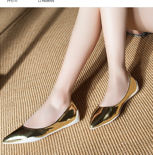 Femmes Chaussures Cher Style Dames Bout Et Pointu silver Pas Appartements Européen Plus Unique Shopping Microfibre Taille Américain Kvoll Casual Gold 40 Sur TXwq7X